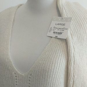 Liz Claiborne NWT Cream V-Neck Long Sweater L